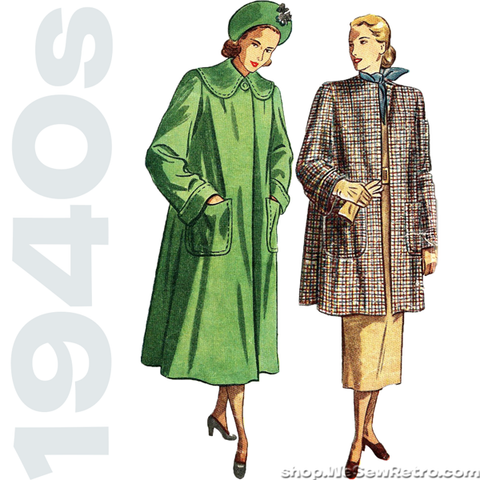 1940s Vintage Sewing Pattern: Flared Back Coat. Simplicity 2331