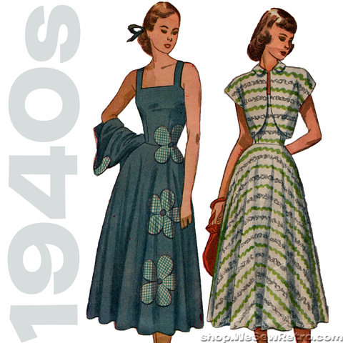 Simplicity 2397 - 1940s Vintage Sundress and Bolero Sewing Pattern