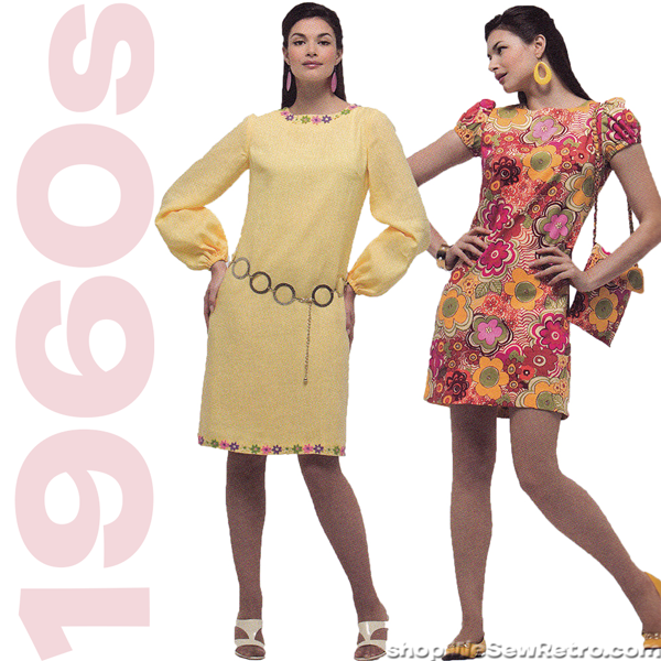 1960s Repro Vintage Sewing Pattern: Mod Dresses. Simplicity 2967