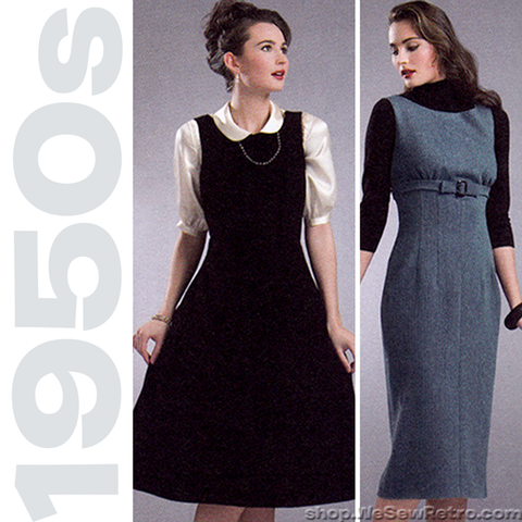 1950s Repro Vintage Sewing Pattern: Bow Belt Dress or Jumper. Simplicity 3673