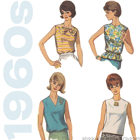 "1960s Vintage Sewing Pattern: Misses Blouses. Simplicity 5932. 32"" Bust"