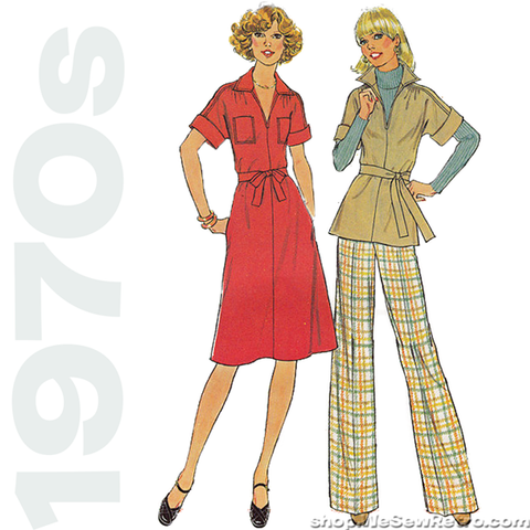 "1970s Vintage Pattern. Kimono Sleeve Dress Sewing Pattern. Simplicity 7582. 32"" to 34"" Bust"