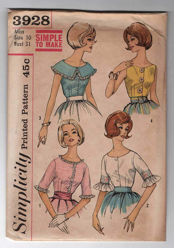Simplicity 3928 - 1960s Vintage Pattern - Blouse Sewing Pattern