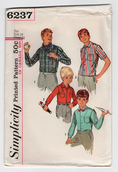Simplicity 6237 Sewing Pattern - 1960s Vintage Boys Shirt Pattern