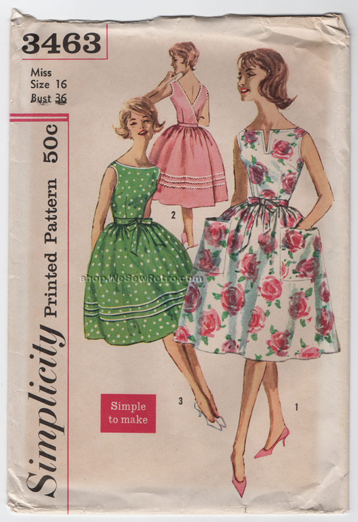 1960s Wrap Around Dress Vintage Sewing Pattern - Simplicity 3463