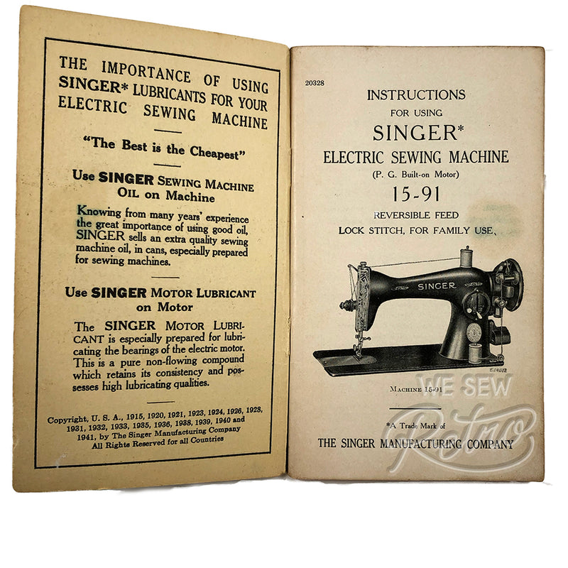 Vintage Singer 15-91 Sewing Machine Instruction Manual