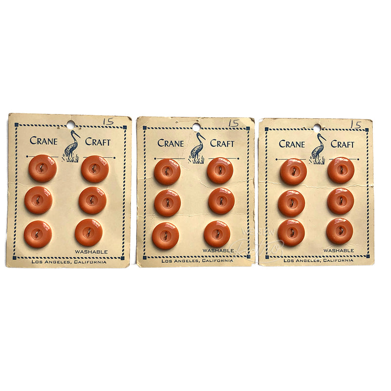 Set of 6 Orange Vintage Buttons on Card