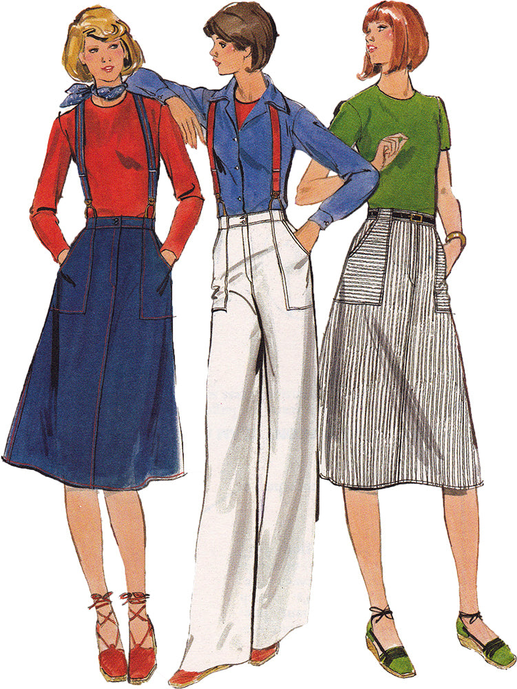 1970s Vintage Sewing Pattern: Suspender Skirt and Suspender Pants. Butterick 5244 & 5245