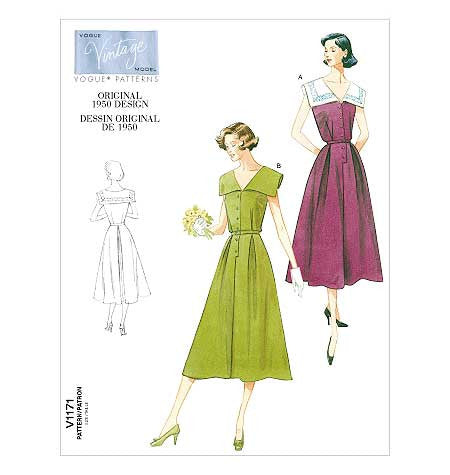 V1171 Vintage Vogue 1171 - Out of Print 1950s Dress Sewing Pattern