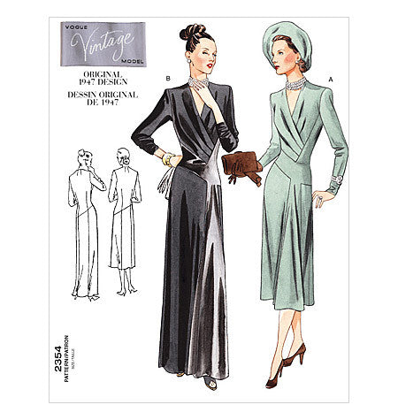 1940s Vintage Vogue Misses Dress: Vogue Patterns V2354