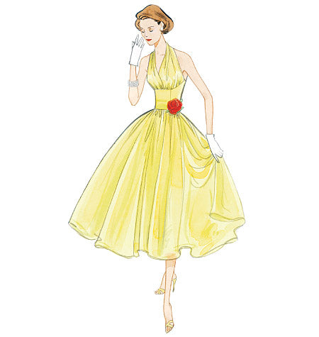 V2962 1950s Vintage Vogue 2962: Misses Halter Dress Sewing Pattern
