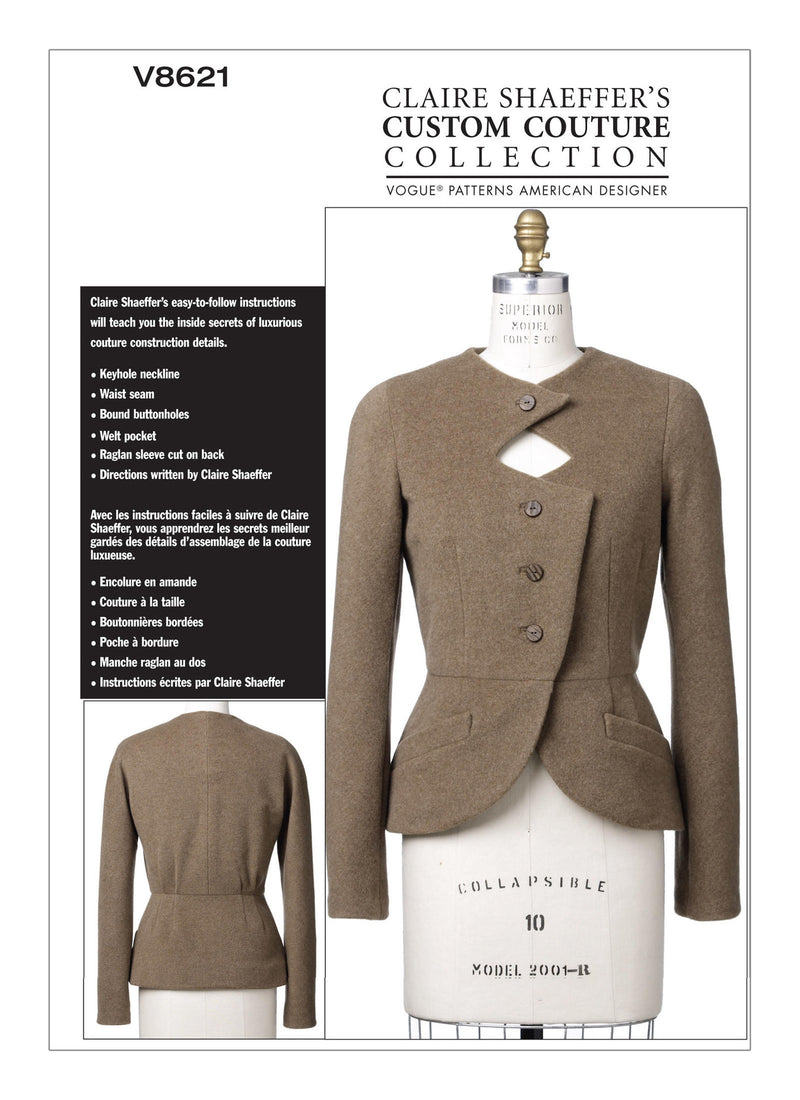 V8621 Claire Shaeffer's Custom Couture Jacket Sewing Pattern