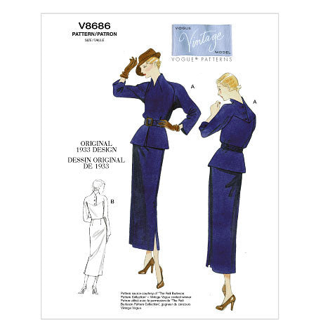 Vintage Vogue 8686 - Out of Print 1930s Dress Sewing Pattern