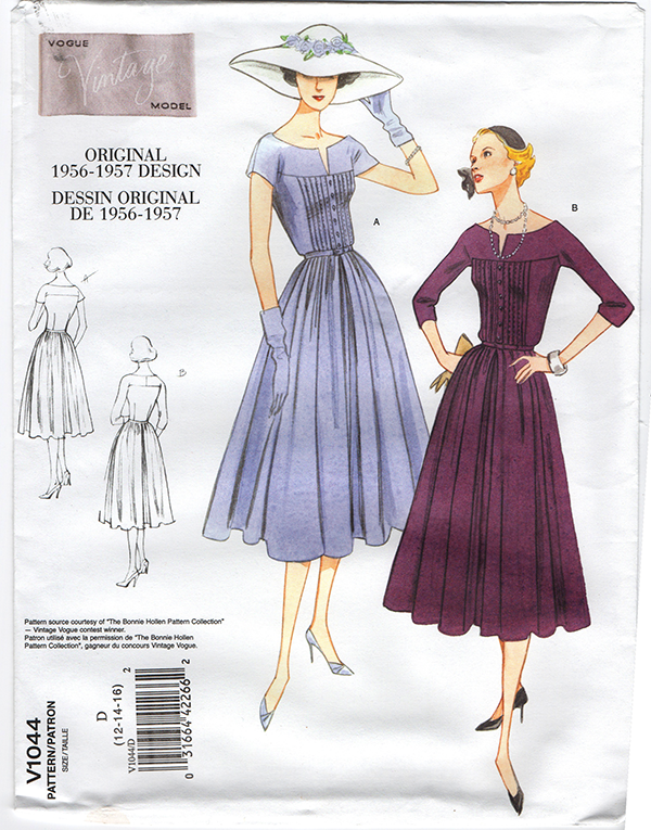 V1044 Vintage Vogue 1044 - Out of Print 1950 Dress Sewing Pattern