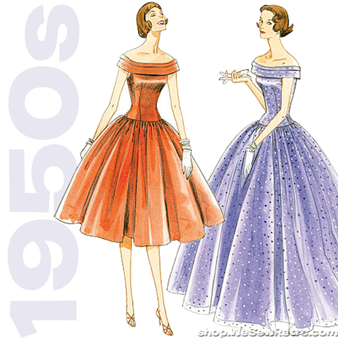 Vintage Vogue 1094 Sewing Pattern: Off the Shoulder Dress Pattern