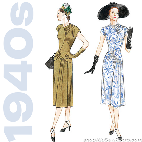 1940s Vintage Vogue 2787: Misses Dress Sewing Pattern