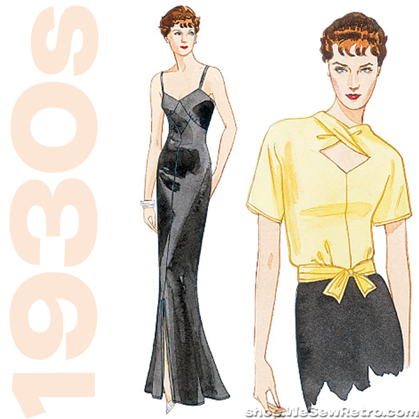 V2859 Vintage Vogue 2859. 1930s Vintage Reproduction Pattern. Dress, Blouse, Jacket Sewing Pattern.