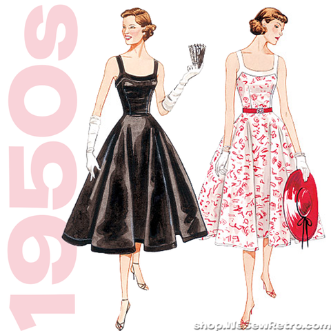 1950s Vintage Vogue V2902: Misses Lined Dress Sewing Pattern