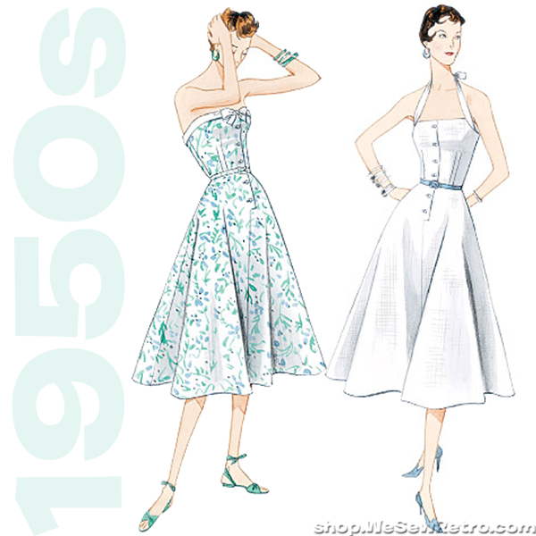 V2961 1950s Vintage Vogue 2961: Halter Dress & Belt Sewing Pattern
