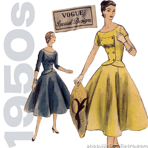 1950s Vogue Special Design Vintage Sewing Pattern. Vogue S-4607. Two Piece Dress Pattern