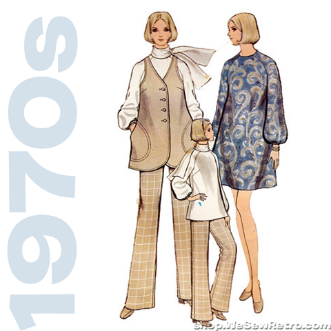1970s Vogue Vintage Pattern - A Line Dress, Pants, Blouse, Jacket - Vogue 7795