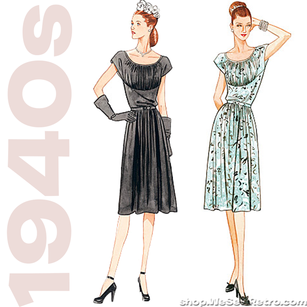1940s Vintage Reproduction Sewing Pattern: Belted Dress. Vogue 8728