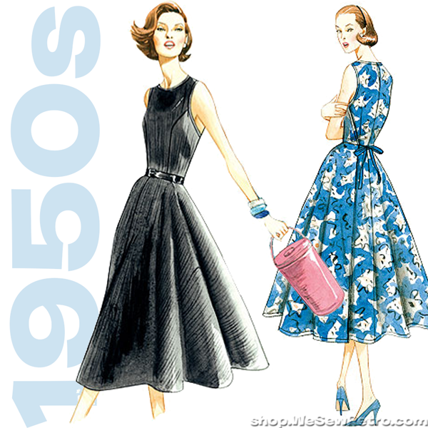 1950s Vintage Vogue Sewing Pattern Back Wrap Dress