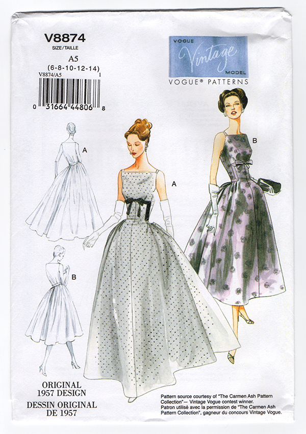 Vintage Vogue 8874 1950s Dress Sewing Pattern Wesewretro