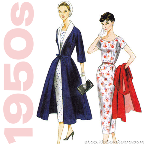 1950s Vintage Vogue 8875: Dress and Coat Vintage Reproduction Sewing Pattern