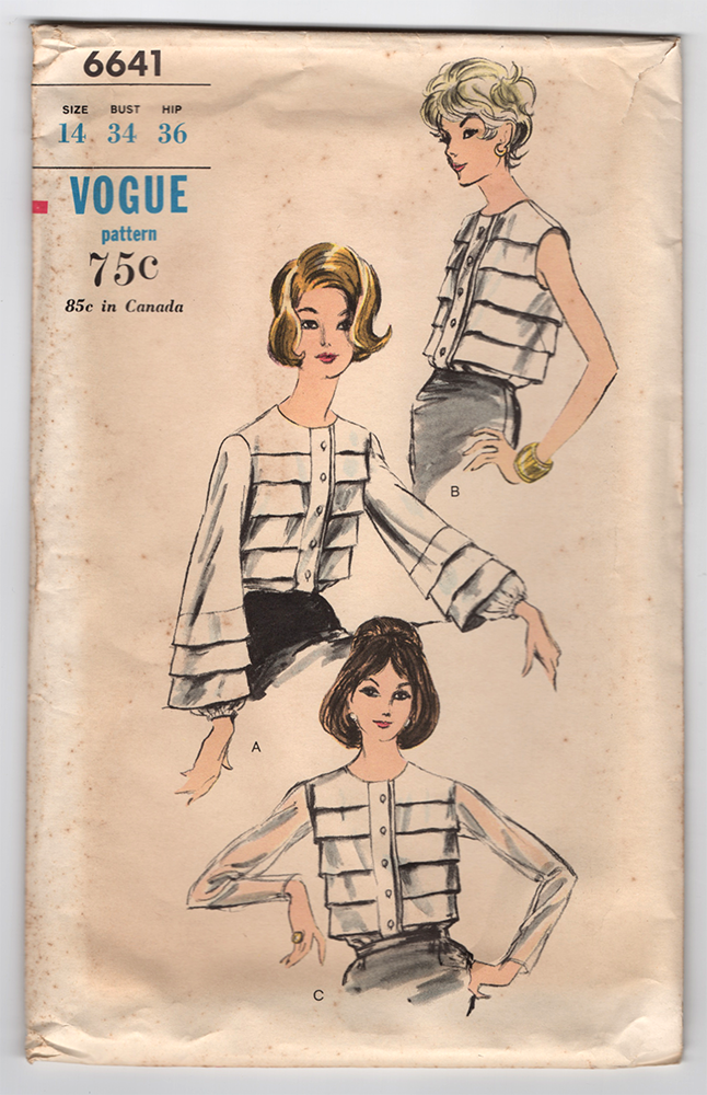 1960s Vogue Blouse Vintage Sewing Pattern - Vogue 6641