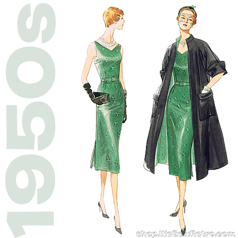 1950s Vintage Vogue V1137: Misses Coat, Dress & Belt Sewing Pattern