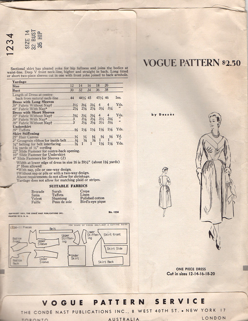 Vogue 1234 Dessès Dress Vintage Sewing Pattern