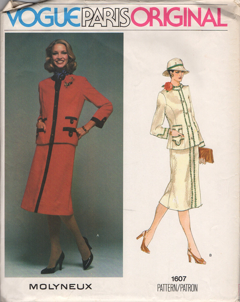 Vogue 1607 Molyneux Jacket & Skirt Vintage Sewing Pattern