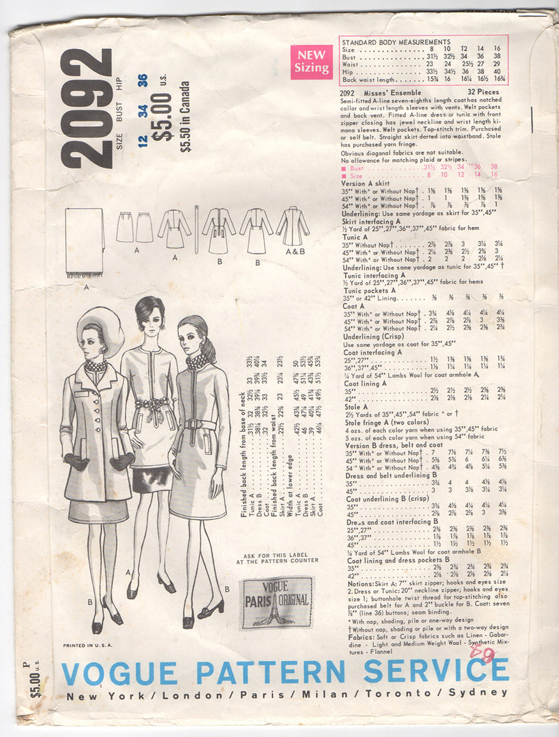 Vogue 2092 1960s Vintage Vogue Sewing Pattern: Nina Ricci Dress, Coat, Tunic, Skirt
