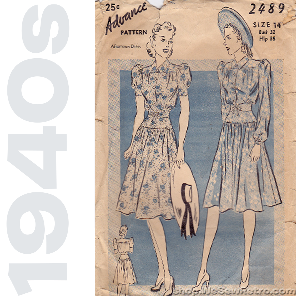 Advance 2489 - 1940s Sewing Pattern - Two Piece Dress Vintage Pattern