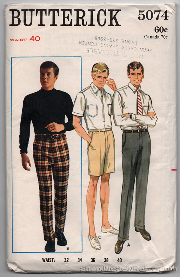 Butterick 5074 - 1960s Vintage Pattern - Mens Pants & Shorts Sewing Pattern