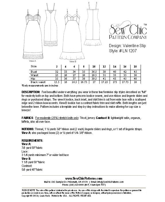 Valentine Slip Sewing Pattern by Sew Chic
