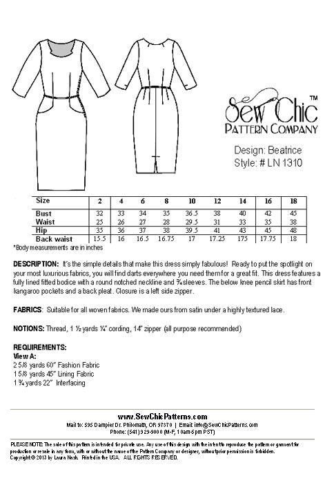 Sew Chic Beatrice Dress Pattern - Vintage Inspired Dress Sewing Pattern by Sew Chic Pattern Company