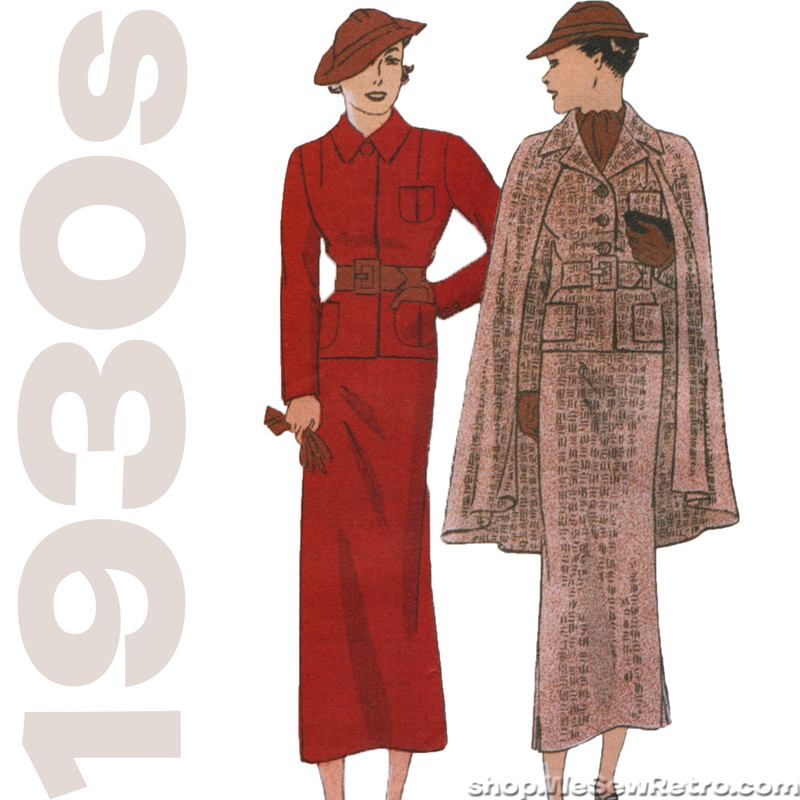 Butterick 6329 - 1930s Vintage Pattern Reproduction - Jacket, Cape, and Skirt Sewing Pattern