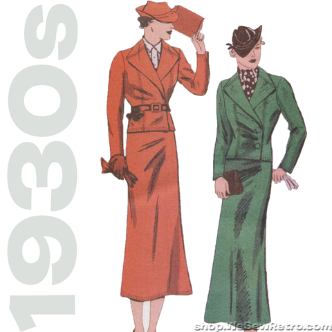 Butterick 6330 - 1930s Vintage Pattern Reproduction - Jacket and Skirt Sewing Pattern