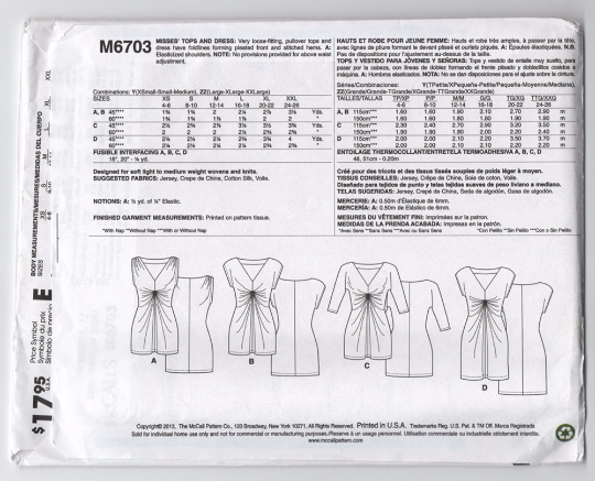 M6703 McCalls 6703 Ruched Top or Dress Sewing Pattern - Out of Print