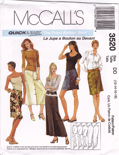 McCalls 3520 Sewing Pattern - Front Button Skirt in 5 Lengths