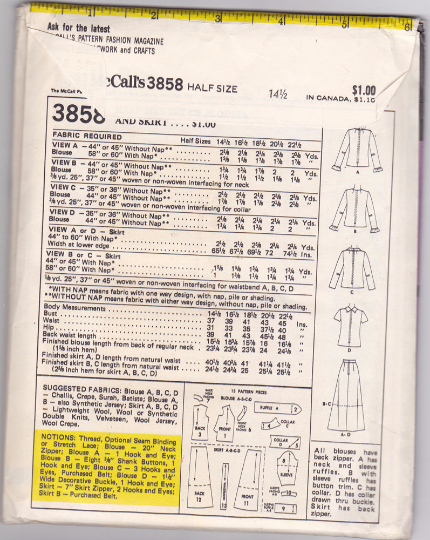 McCall's 3858 Vintage Sewing Pattern - Midi Skirt, Maxi Skirt, and Blouse