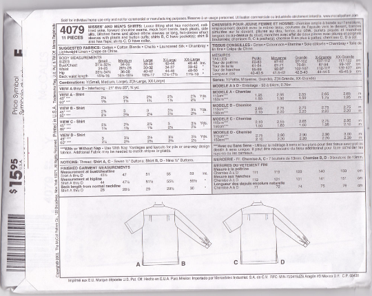 McCalls 4079 Palmer Pletsch Sewing Pattern - Unisex Shirts