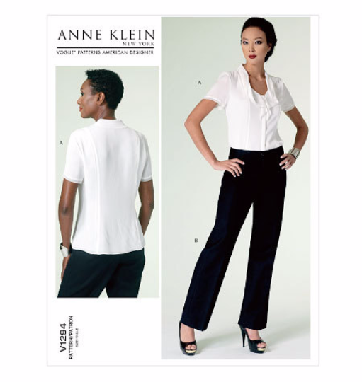V1294 Vogue American Designer Anne Klein Blouse & Pants Sewing Pattern Vogue 1294 Out of Print
