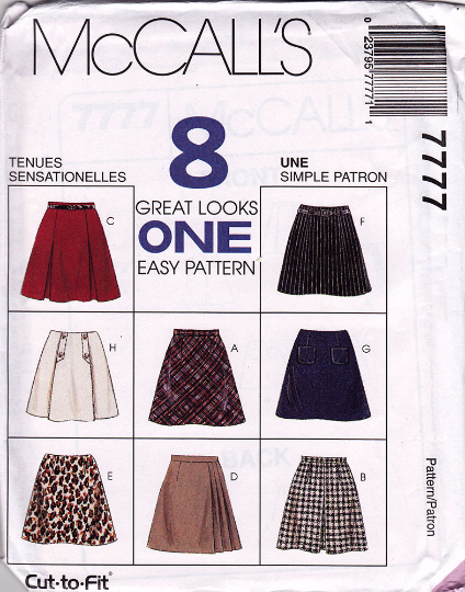 McCall's 7777 Sewing Pattern - Eight Style of Skirt