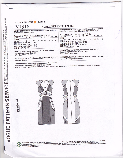 V1316 Vogue American Designer Rebecca Taylor Dress Sewing Pattern Vogue 1316 Out of Print