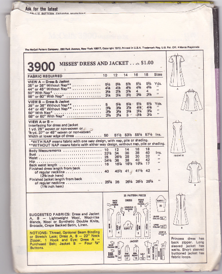 McCalls 3900 Vintage Sewing Pattern - Princess Line Dress and Jacket