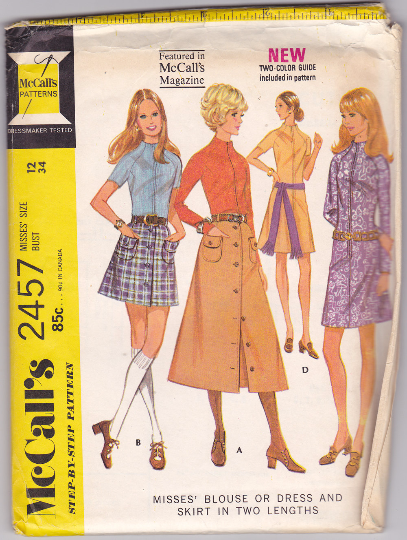 McCalls 2457 Vintage Sewing Pattern - 1970s Dress, Skirt, Blouse