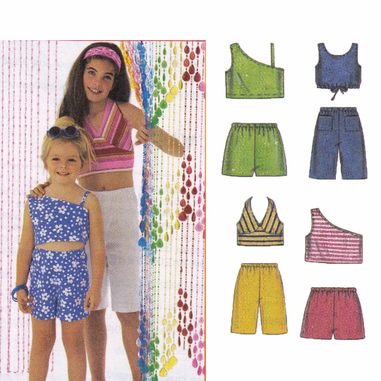 McCalls 3602 Sewing Pattern - Girls Summer Separates - Halter Top, One Shoulder Top, Shorts